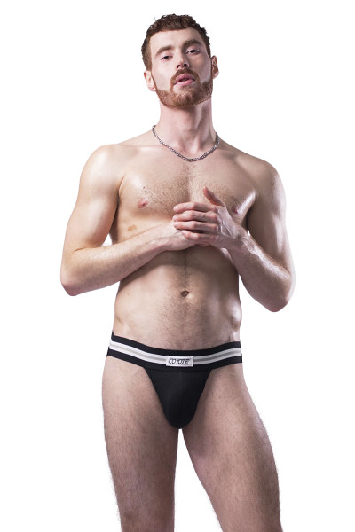 Coyote Jocks Jet Black Jock M301 - Black - Mens Jockstraps - Front View - Topdrawers Underwear for Men