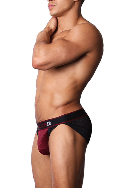 CellBlock 13 Tailback Mesh Hi-Cut Brief CBU144 -Burgundy - Mens Briefs - Side View - Topdrawers Underwear for Men