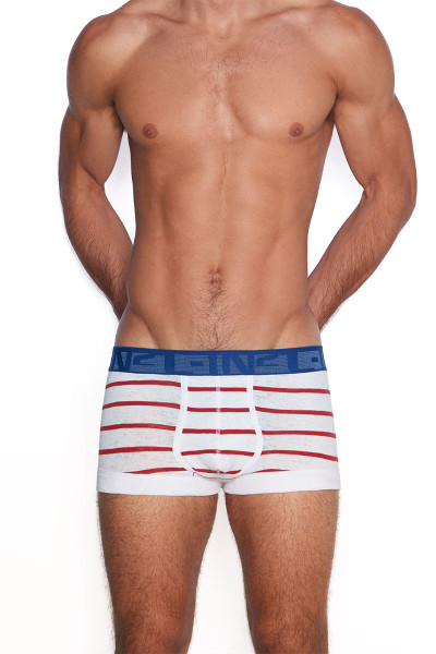 C-IN2 Hand Me Down Lo No Show Trunk 1923F - 103 Red White & Blue - Mens Trunk Boxer Briefs - Front View - Topdrawers Underwear for Men