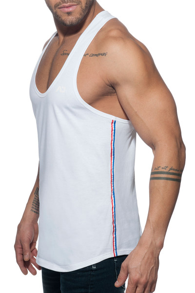 Addicted Flags Tape Tank Top AD777 - 01 White - Mens Tank Tops - Side View - Topdrawers Clothing for Men