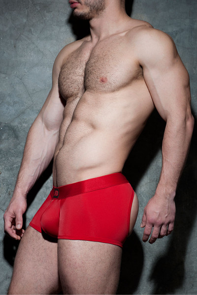 Addicted Fetish Bottomless Fetish Boxer ADF93 - 06 Red - Mens Jock Boxers - Side View - Topdrawers Fetish Underwear for Men