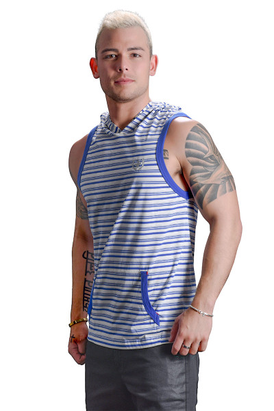 Andrew Christian Bayside Stripe Sleeveless Hoodie w/ Laurel Cross 2729 - Mens Tops - Side View - Topdrawers Clothing for Men
