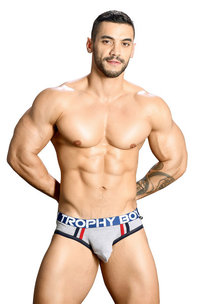 Andrew Christian Trophy Boy Brief 91124-HEA - Heather Grey - Mens Briefs - Front View - Topdrawers Underwear for Men