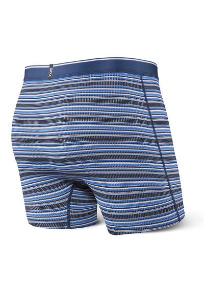 Saxx Quest Boxer Brief w/ Fly SXBB70F-DBB - Blue Daybreak Stripe - Mens Boxer Briefs - Rear View - Topdrawers Underwear for Men