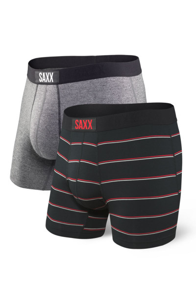 Saxx 2-Pack Vibe Boxer Brief SXPP2V-GSS - Grey/Shallow Stripe - Mens Boxer Briefs - Front View - Topdrawers Underwear for Men