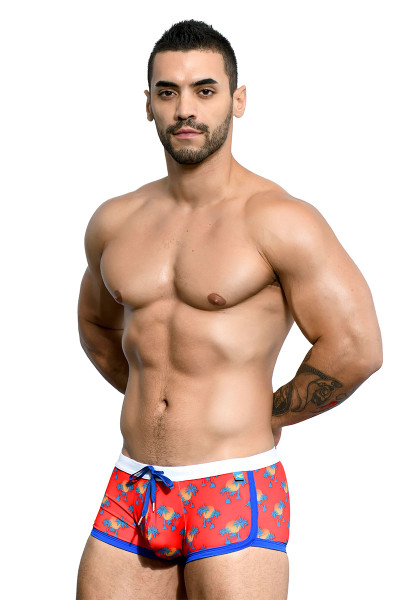 Andrew Christian California Palms Swim Trunk 7664 - Mens Trunk Swimsuits - Side View - Topdrawers Swimwear for Men