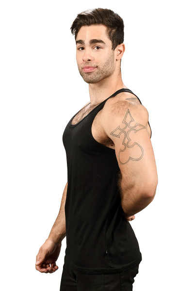 Andrew Christian Happy Tagless Tank Top 2561-BL - Black - Mens Tank Tops - Side View - Topdrawers Underwear for Men