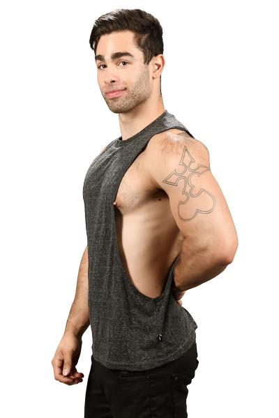 Andrew Christian Happy Tagless Gym Tank 2679-VBL - Vintage Black - Mens Tank Tops - Side View - Topdrawers Underwear for Men