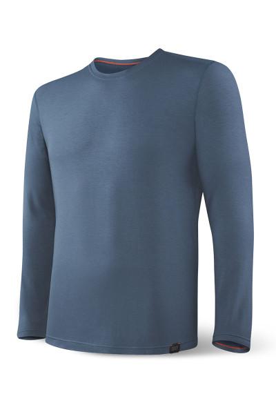 Saxx Sleepwalker Tee L/S SXLT34-DDN Dark Denim - Mens Pyjama Shirts - Front View - Topdrawers Sleepwear for Men