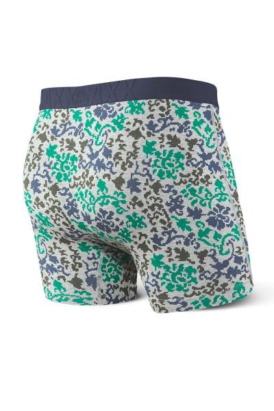 Saxx Undercover Boxer Brief w/ Fly SXBB19F-GDB Grey Digital Baroque - Mens Boxer Briefs - Rear View - Topdrawers Underwear for Men
