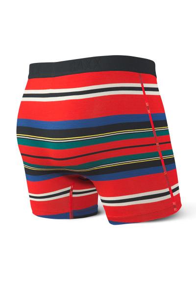 Saxx Vibe Boxer Brief SXBM35-RTS Red Tartan Stripe - Mens Boxer Briefs - Rear View - Topdrawers Underwear for Men
