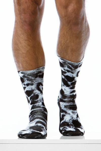 Modus Vivendi Leopard Socks XS1920-BL - Black - Mens Long Socks - Front View - Topdrawers Underwear for Men