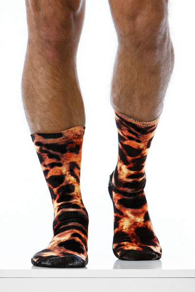 Modus Vivendi Leopard Socks XS1920-BR -Brown - Mens Long Socks - Front View - Topdrawers Underwear for Men