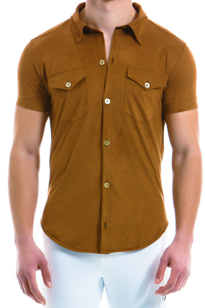 Modus Vivendi Suede Shirt 13941-CML - Camel - Mens Short Sleeve Shirts - Front View - Topdrawers Clothing for Men