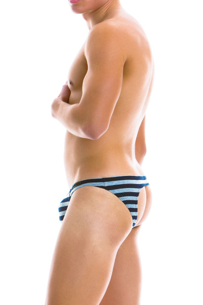Modus Vivendi Striped Bottomless Brief 11911-GR - Grey - Mens Jock Briefs - Rear View - Topdrawers Underwear for Men