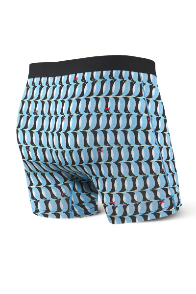 Saxx Ultra Boxer Brief w/ Fly SXBB30F-PGB Blue Penguins - Mens Boxer Briefs - Rear View - Topdrawers Underwear for Men