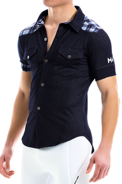 Modus Vivendi Jeans Shirt 12941-BU Blue - Mens Shirts - Side View - Topdrawers Clothing for Men