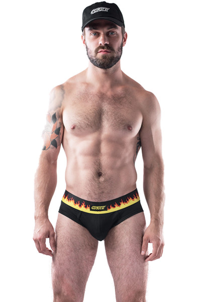 Coyote Jocks Flame Brief M102-FLA - Mens Briefs - Front View - Topdrawers Underwear for Men