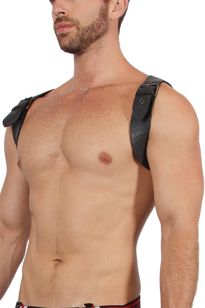 CellBlock 13 Sniper Neoprene Harness CBS108-BL Black - Mens Fetish Harnesses - Side View - Topdrawers Fetishwear for Men
