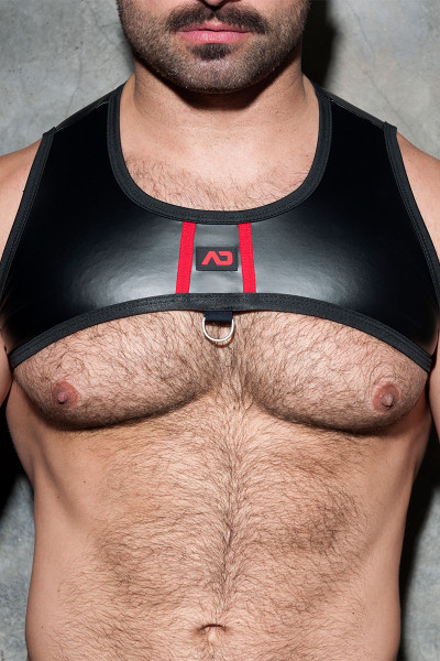 Addicted Fetish Rub Stripe Harness ADF110-06 - Red - Mens Fetish Harnesses - Front View - Topdrawers Fetish Clothing for Men