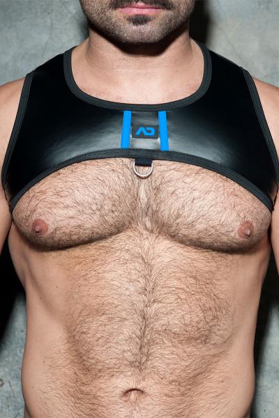 Addicted Fetish Rub Stripe Harness ADF110-16 - Royal Blue - Mens Fetish Harnesses - Front View - Topdrawers Fetish Clothing for Men