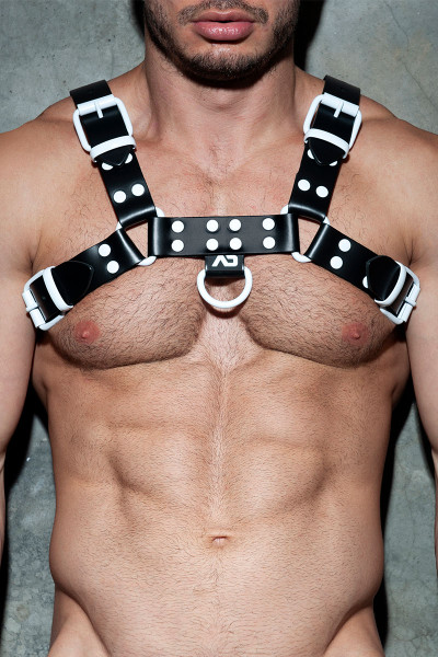 Addicted Fetish Leather Colour Harness ADF119-01 - White - Mens Fetish Leather Harnesses - Front View - Topdrawers Fetish Clothing for Men