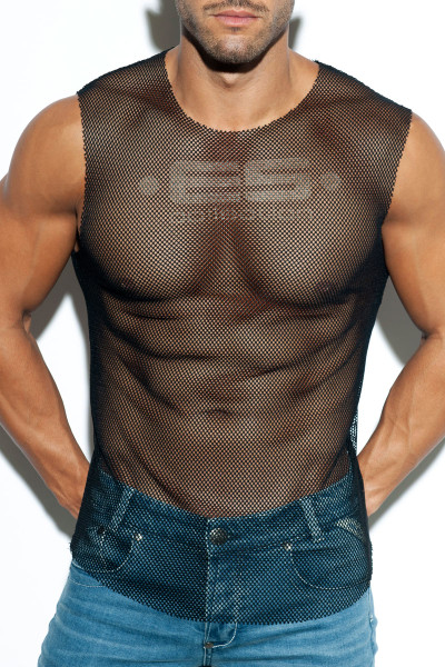 ES Collection Mesh Broad Tank Top TS260-10 - Black - Mens Tank Tops - Front View - Topdrawers Clothing for Men