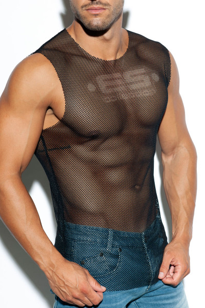 ES Collection Mesh Broad Tank Top TS260-10 - Black - Mens Tank Tops - Side View - Topdrawers Clothing for Men