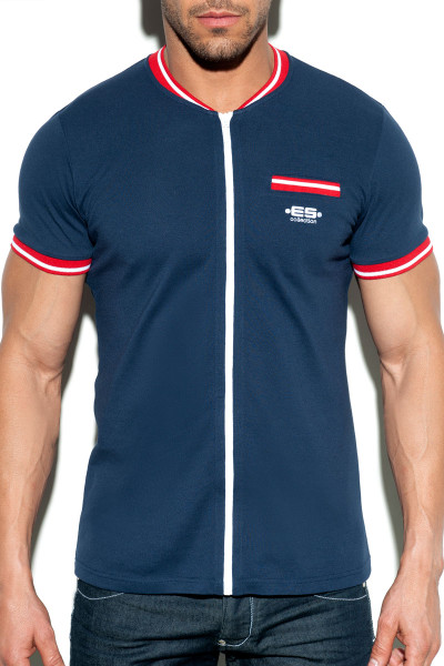 ES Collection Full Zip Mao Polo POLO30-09 - Navy Blue - Mens Polo T-Shirts - Front View - Topdrawers Clothing for Men