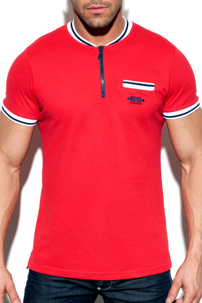 ES Collection Short Zip Mao Polo POLO31-06 - Red - Mens Polo T-Shirts - Front View - Topdrawers Clothing for Men