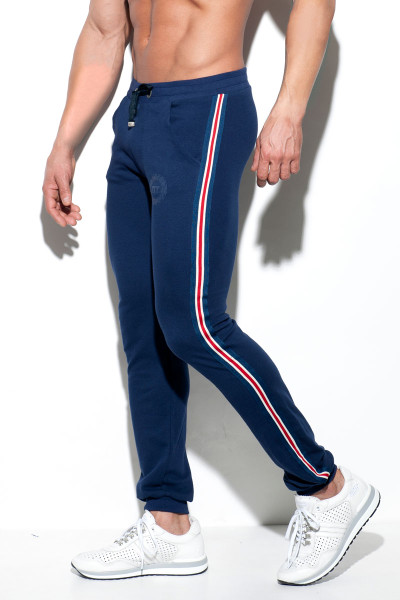 ES Collection Fit Tape Sport Pant SP209-09 - Navy Blue - Mens Sport Pants - Side View - Topdrawers Clothing for Men