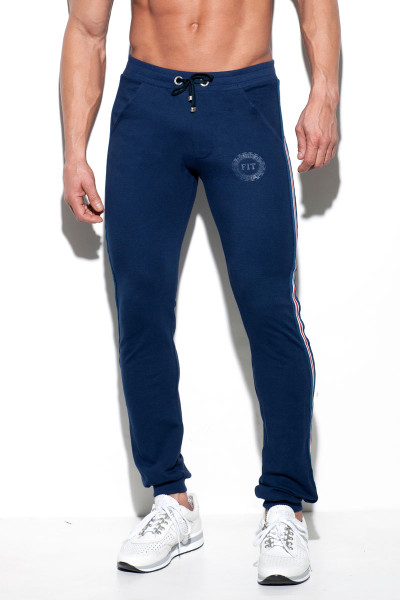 ES Collection Fit Tape Sport Pant SP209-09 - Navy Blue - Mens Sport Pants - Front View - Topdrawers Clothing for Men