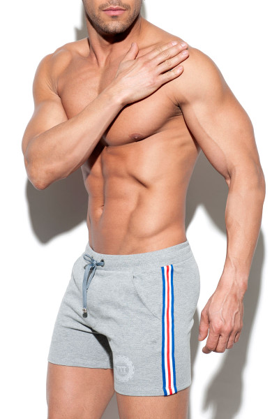 ES Collection Fit Tape Sport Short SP210-11 - Heather Grey - Mens Sport Shorts - Side View - Topdrawers Clothing for Men