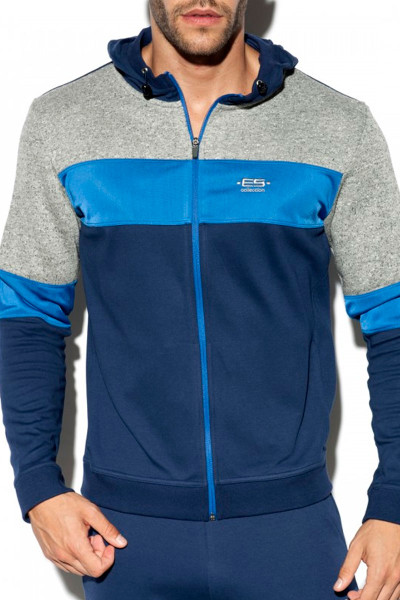 ES Collection Rustic Combi Jacket SP223-09 Navy Blue - Mens Sport Jackets - Front View - Topdrawers Clothing for Men