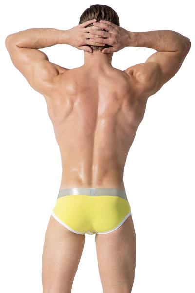 Private Structure Spectrum X Contour Brief SXUZ3683-YL Yellow - Mens Briefs - Rear View - Topdrawers Underwear for Men