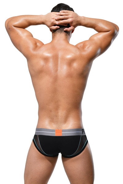 Private Structure Momentum Orange Mini Brief MIUY3857-BL Black - Mens Briefs - Rear View - Topdrawers Underwear for Men