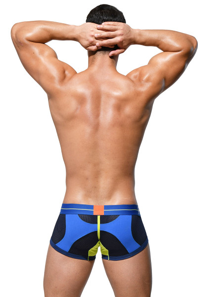 Private Structure Momentum Orange Trunk MIUY3853-BU Blue - Mens Boxer Briefs - Rear View - Topdrawers Underwear for Men