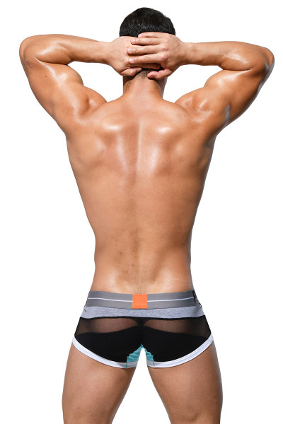 Private Structure Momentum Orange Harness Trunk MIU3856-BL Black - Mens Boxer Briefs - Rear View - Topdrawers Underwear for Men