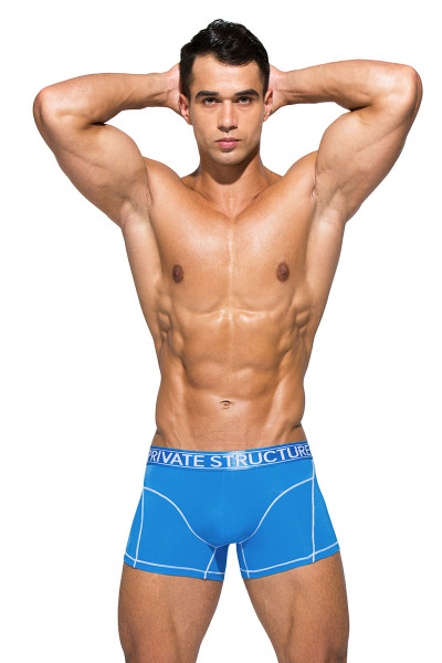 Private Structure Platinum Bamboo Trunk PBUZ3749-SBU Solid Blue - Mens Boxer Briefs - Front View - Topdrawers Underwear for Men