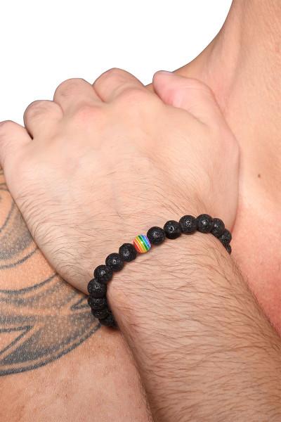 Andrew Christian Pride Lava Stone Energy Bracelet 8468