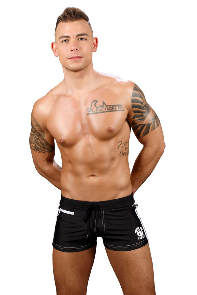 Andrew Christian Phys Ed Varsity Zipper Pocket Swim Trunk 7739-BL Black - Mens Swim Boxer Trunks - Front View - Topdrawers Swimwear for Men