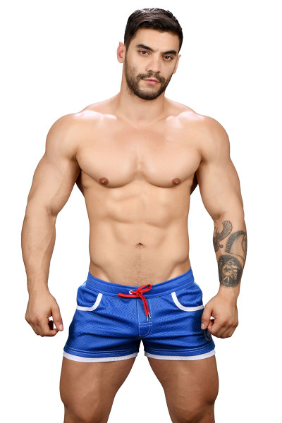 Andrew Christian Sports Mesh Laurel Swim Shorts 7735-ROY Royal Blue - Mens Swim Boardshorts - Front View - Topdrawers Swimwear for Men
