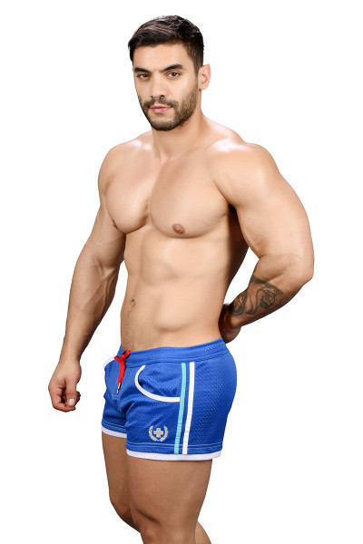 Andrew Christian Sports Mesh Laurel Swim Shorts 7735-ROY Royal Blue - Mens Swim Boardshorts - Side View - Topdrawers Swimwear for Men