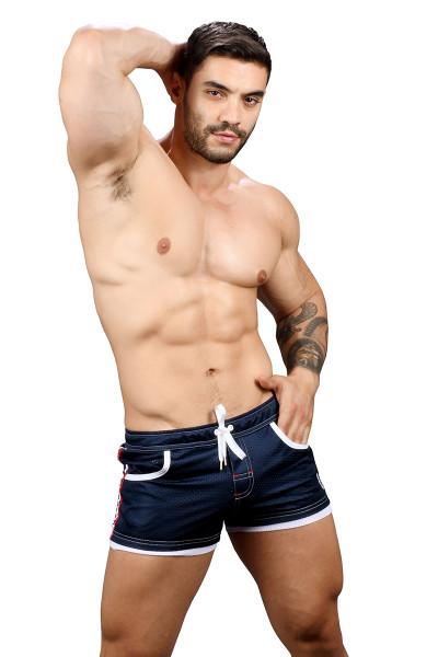 Andrew Christian Sports Mesh Laurel Swim Shorts 7735-NV Navy Blue - Mens Swim Boardshorts - Front View - Topdrawers Swimwear for Men