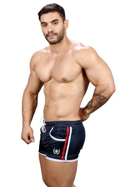 Andrew Christian Sports Mesh Laurel Swim Shorts 7735-NV Navy Blue - Mens Swim Boardshorts - Side View - Topdrawers Swimwear for Men