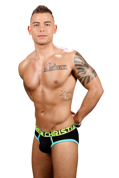 Andrew Christian CoolFlex Modal Active Brief w/ Show-It 91243-BL Black - Mens Briefs - Side View - Topdrawers Underwear for Men