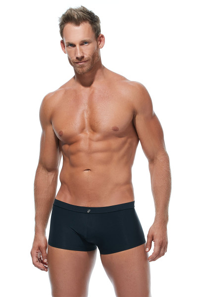 Gregg Homme Caliente Swim Boxer 170645-BL Black - Mens Swim Trunks - Front View - Topdrawers Swimwear for Men