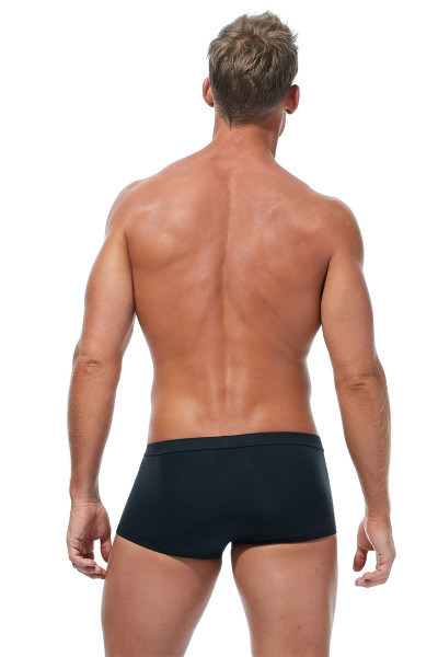 Gregg Homme Caliente Swim Boxer 170645-BL Black - Mens Swim Trunks - Rear View - Topdrawers Swimwear for Men