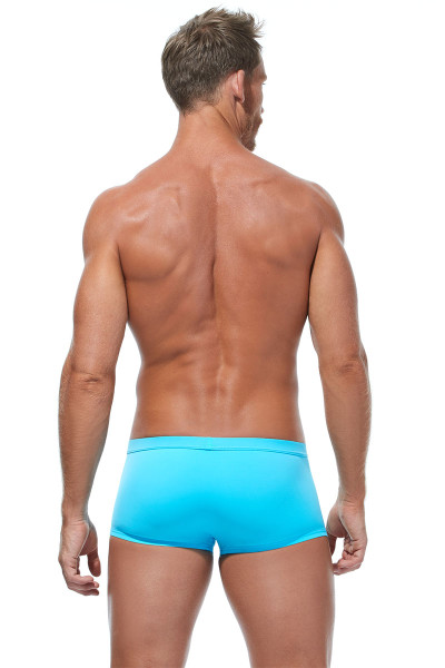 Gregg Homme Caliente Swim Boxer 170645-AQ Aqua - Mens Swim Trunks - Rear View - Topdrawers Swimwear for Men