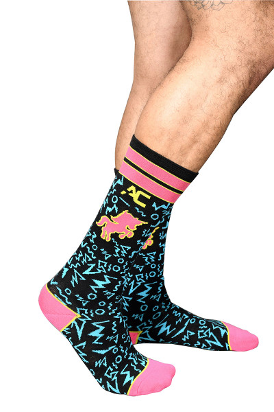 Andrew Christian Unicorn Fantasy Socks 8438 - Mens Crew Socks - Side View - Topdrawers Clothing for Men